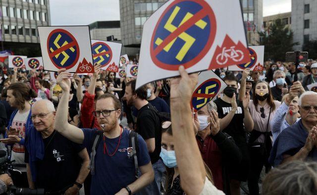Protesti proti fašizmu, nacionalizmu, rasizmu in vladi. FOTO: Voranc Vogel/Delo