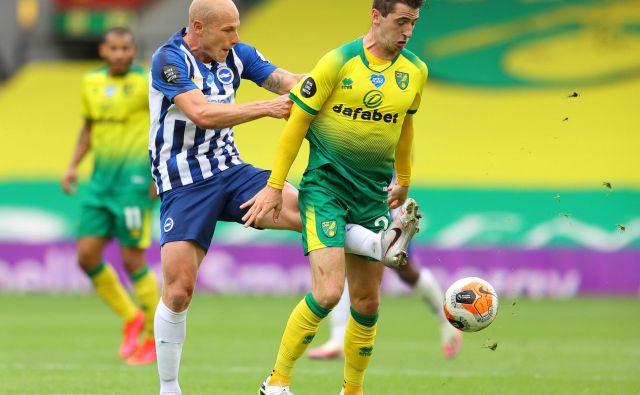 V angleškem Norwichu sta se v 33. krogu pomerila premierligaška kluba Norwich City in Brighton & Hove Albion. Brighton je v gosteh zmagal 0:1. FOTO: Richard Heathcote/Reuters