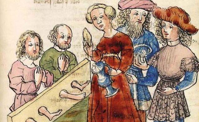 Parzival ukaže poskrbeti za ujetnike, vklenjene v klado. Risba iz hagenavskega rokopisa, ki ga hrani Univerza v Heidelbergu.