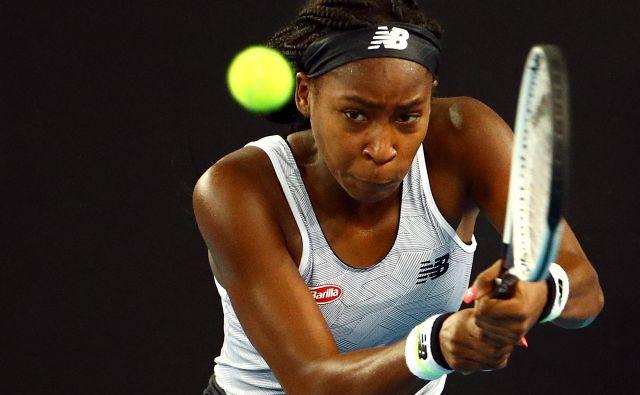 Coco Gauff ne prehiteva dogodkov, tako kot bo žogica prišla na njen lopar, bodo tudi teniški uspehi na njeni športni poti. FOTO: Hannah Mckay/Reuters