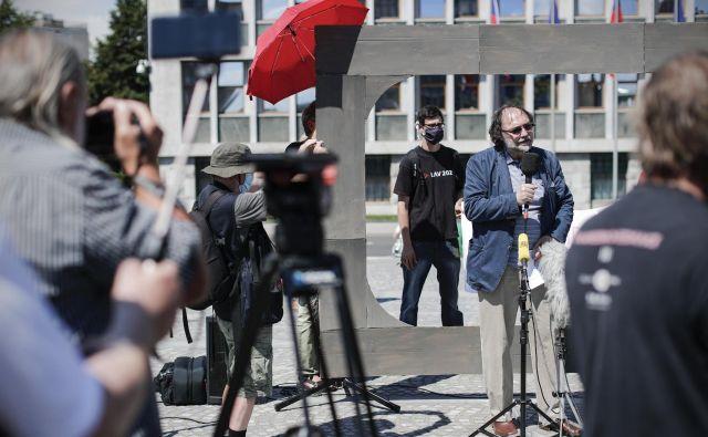 Protest proti novemu zakonu o medijih. FOTO: Uroš Hočevar