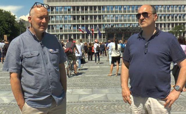 Ali Žerdin in Janez Markeš na Trgu republike. FOTO: Youtube/Zajem Zaslona
