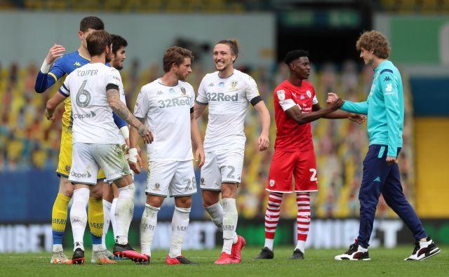 Nogometaši iz Leedsa so se končno razveselili vrnitve v najvišji angleški ligaški razred. FOTO: Lee Smith/Action Images