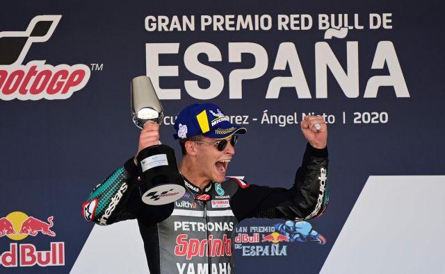 Fabio Quartararo je zmago označil za najsrečnejši trenutek doslej v življenju. FOTO: Javier Soriano/AFP