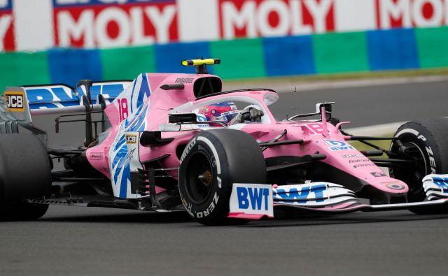 Dirkalnika racing point RP20, s katerim je Lance Stroll danes osvojil četrto mesto, se je že oprijel vzdevel vzdevek »rožnati Mercedes«. FOTO: Darko Bandić/AFP