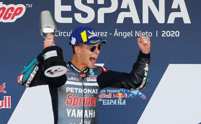 Fabio Quartararo po krstni zmagi samozavestno pričakuje drugo dirko v sezoni, ki bo v nedeljo, prav tako v Jerezu.<br /> FOTO: Marcelo Del Pozo/Reuters