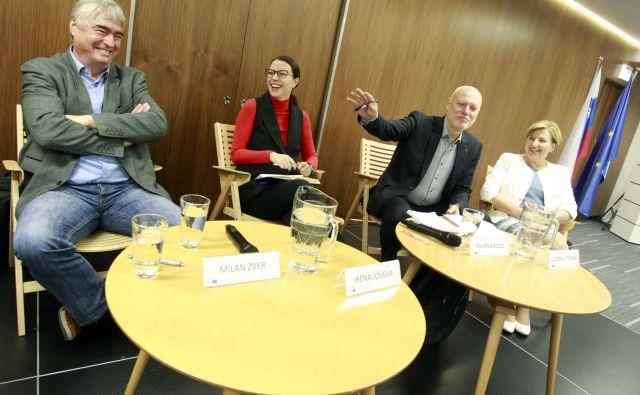 Evropski poslanci Milan Zver, Irena Joveva, Milan Brglez in Ljudmila Novak. Brglez vodi Šahovsko zvezo Slovenije. FOTO: Roman Šipić