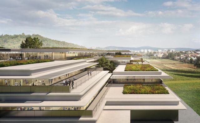 Lokacija Fakultete za strojništvo bo na Brdu ob Tehnološkem parku, kjer nastaja novo univerzitetno in tehnološko središče. Vir Sadar Vuga arhitekti
