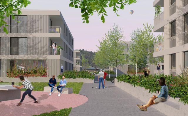 Na Rudniku bo v novi soseski zgrajenih 44 neprofitnih stanovanj, ki bodo vseljiva šele čez tri leta. Računalniški prikaz: Stanovanjski sklad MOL