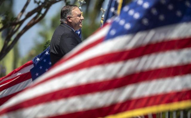 Ameriški državni sekretar Mike Pompeo je govoril v kalifornijski Yorbi Lindi. Foto David McNew/AFP