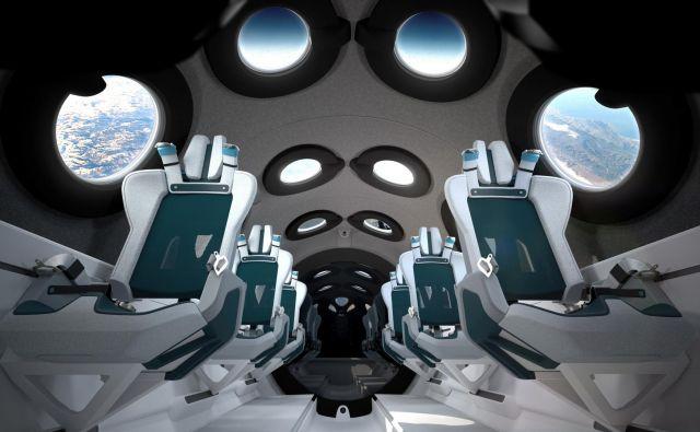 Potniška kabina vesoljskega letala, namenjenega turističnim potovanjem v vesolje. FOTO: Virgin Galactic/Reuters