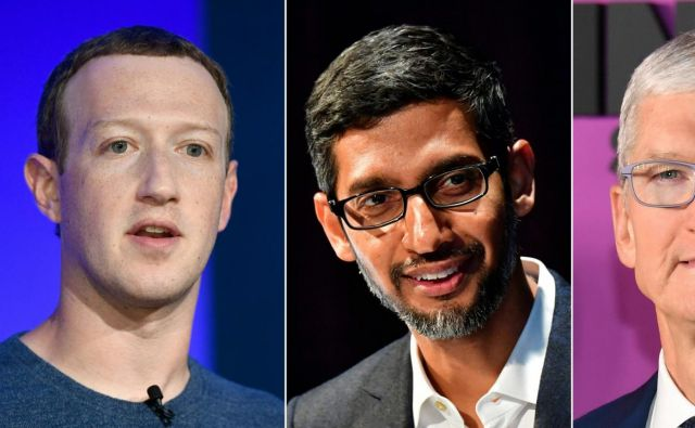 Mark Zuckerberg, Sundar Pichai, Tim Cook in Jeff Bezos. FOTO: Mark Ralston/AFP