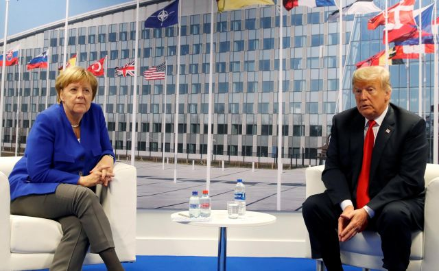 Predsednik Trump in kanclerka Angela Merkel julija 2018 v Bruslju. Foto Kevin Lamarque Reuters Pictures