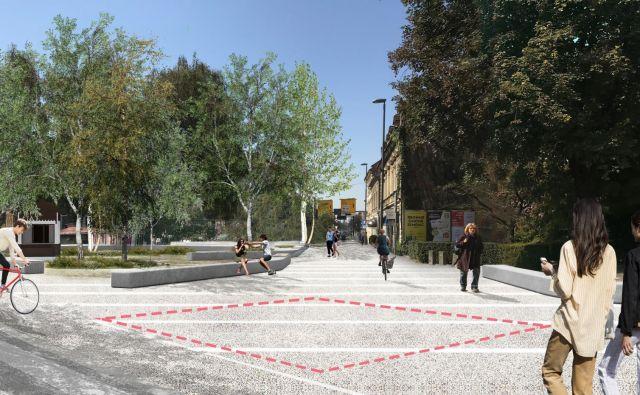 Spomenik Braniteljem mesta Ljubljane 1991 bodo postavili na prenovljenem Trgu mladinskih delovnih brigad, kjer je še nedavno stal znameniti ljubljanski tramvaj. Računalniški prikaz: MOL