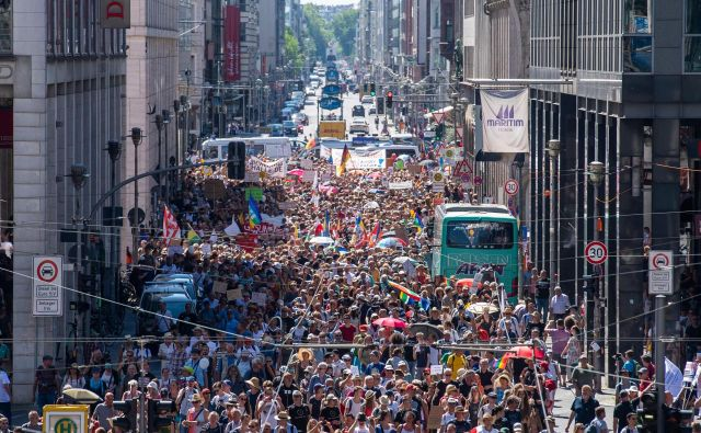 Protesti v Berlinu. FOTO: John Macdougall/AFP