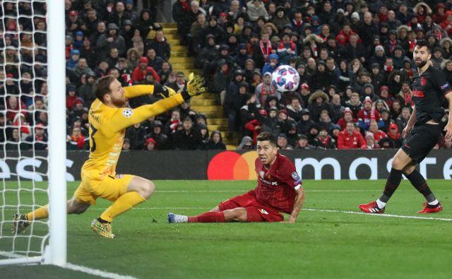 Jan Oblak je 11. marca z bravuroznimi obrambami Liverpoolu preprečil ubranitev naslova.FOTO: Carl Recine/Reuters