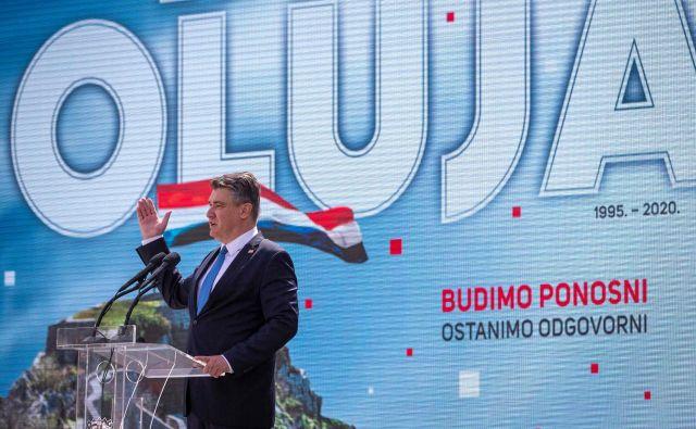 Nagovor hrvaškega predsednikaZorana Milanovića v Kninu. Foto: Denis Lovrovic/Afp