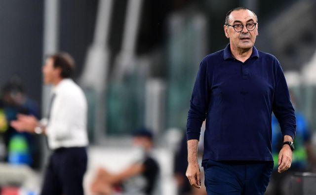 Trener Juventusa Maurizio Sarri ne razmišlja o slovesu od kluba, saj ima z njim sklenjeno veljavno pogodbo. FOTO: Miguel Medina/AFP