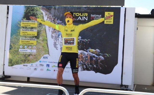 Prvi pokoronski telemark Primoža Rogliča. FOTO: Tour de l'Ain
