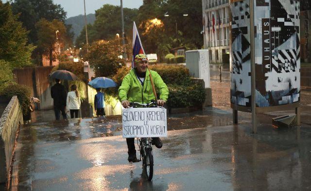 Protest v dežju. FOTO: Jože Suhadolnik/Delo