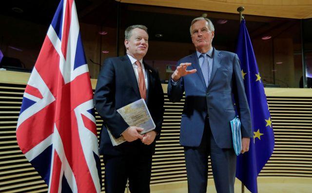 Glavni pogajalec evropske komisije Michel Barnier in njegov britanski kolega David Frost bosta v prihodnjih dneh znova iskala pot iz slepe ulice. Foto Oliver Hoslet/Reuters