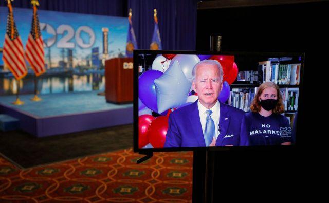 Demokratska stranka je v torek zvečer nekdanjega podpredsednika Joeja Bidna uradno nominirala za predsedniškega kandidata. Foto Brian Snyder/AFP