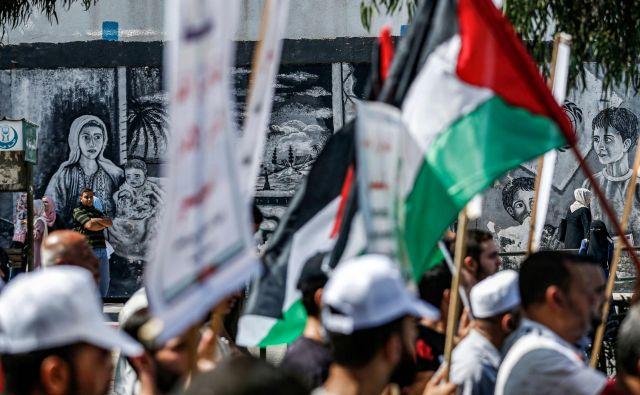 Protesti proti dogovoru Izraela in ZAE v Gazi. FOTO: Mohammed Abed / AFP