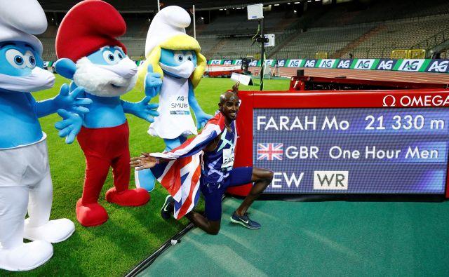 Mo Farah je proslavil svetovni rekord v prijetni družbi. FOTO: Francois Lenoir/Reuters
