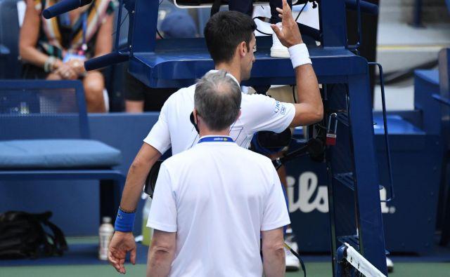 Novak Đoković se je tako odzval na odločitev uradne osebe turnirja v New Yorku. FOTO: Danielle Parhizkaran/USA Today Sports