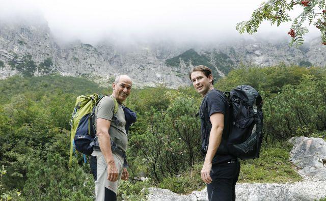 Kurz je povedal, da je bil vzpon Janševa ideja in da je naš premier bolj izkušen plezalec. FOTO: Dragan Tatic/BKA