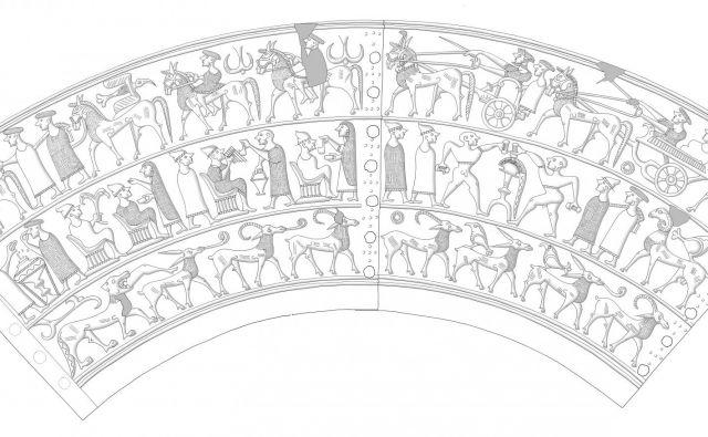 Razvit plašč situle z Vač. Prva polovica 5. stoletja pr. n. št. Risba Ida Murgelj. © Narodni muzej Slovenije