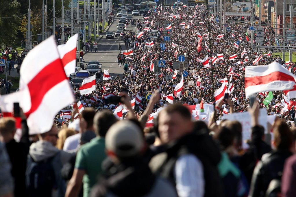 FOTO:Beloruska prestolnica ob današnjem protestu kot utrdba