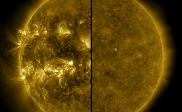 Fotografija prikazuje razliko med aktivnostjo na Soncu med maksimumom, ki je nastopil aprila 2014 (levo), in minimumom decembra 2019.<br /> FOTO: Nasa/SDO