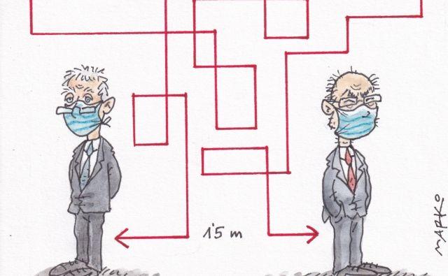 Vlada ima inovativne metode večanja razdalje v času epidemije. KARIKATURA: Marko Kočevar/Delo