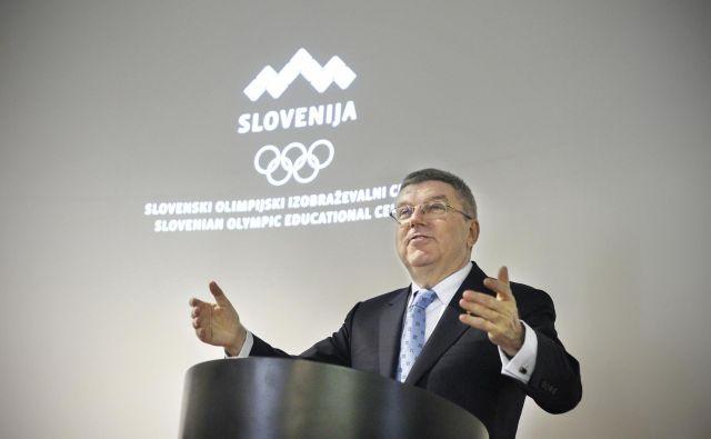 Thomas Bach je obiskal slovenske kandidate za nastop na olimpijskih igrah v Tokiu. FOTO: Leon Vidic/Delo