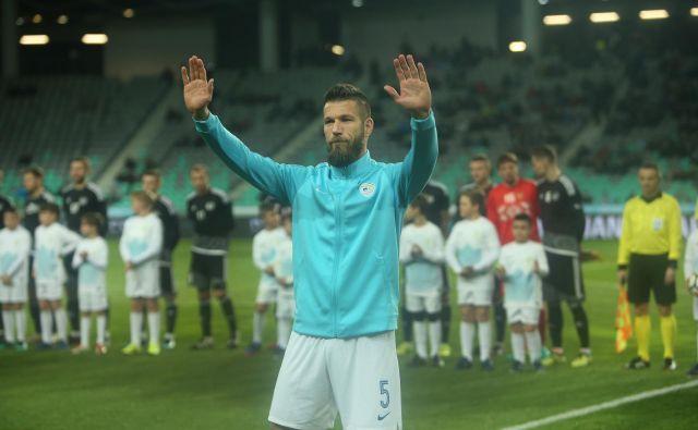 Boštjan Cesar se je poslovil od reprezentance 27. marca 2018 na tekmi z Belorusijo v Stožicah. FOTO: Jure Eržen
