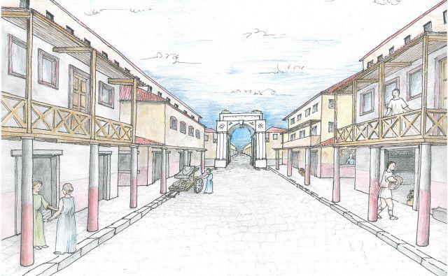 Del antične Celeje. Idealna rekonstrukcija glavnega mestnega dekumana s stebrišči – pogled od zahodnih mestnih vrat v smeri Gosposke ulice. FOTO: arhiv PMC