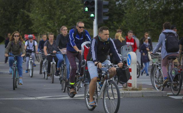 Vlaganje v površine za kolesarjenje in hojo se mestu vrne, vlaganje v ceste za avtomobile pa ne. FOTO: Jože Suhadolnik/Delo