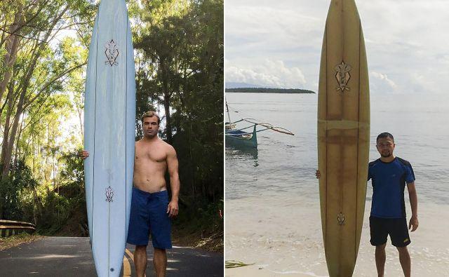 Američan Doug Falter in njegova takrat še modra deska (na fotografiji levo) ter Filipinec Giovanne Branzuela z isto desko dve leti pozneje (desno). FOTO: AFP