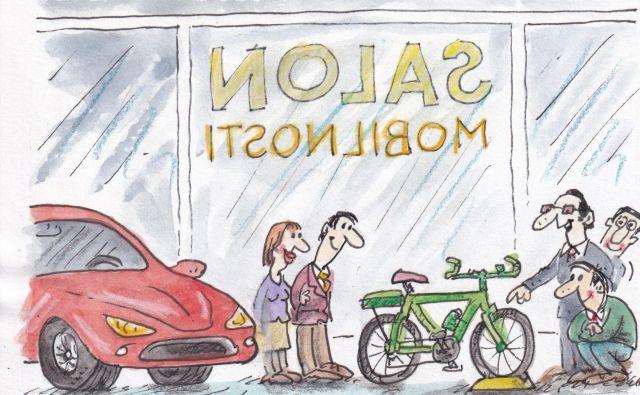 Dan brez avtomobila. KARIKATURA: Marko Kočevar