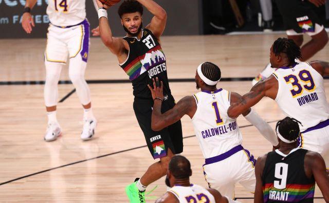 Denver je v tretji finalni tekmi zahodne konferenece v končnici lige NBA pokazal zobe in znižal zaostanek v zmagah na 1:2. Branilec Jamal Murray je bil najbolj razpoložen med zmagovalci. FOTO: Kim Klement/USA Today Sports