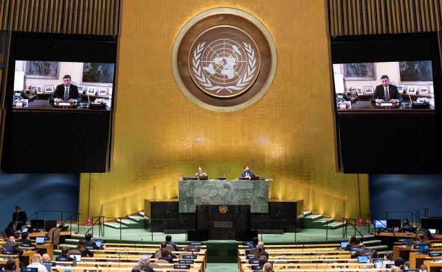 75. zasedanje Generalne skupščine ZN, ki letos zaradi pandemije koronavirusa poteka virtualno. Na fotografiji Borut Pahor na posnetku govora. FOTO: United Nations Via Reuters