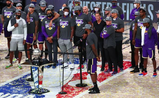 LA Lakers z LeBrona Jamesom v glavni vlogi pišejo zgodovino NBA, še 31. se je moštvo iz Los Angelesa uvrstilo v veliki finale. FOTO: Kim Klement/USA TODAY Sports
