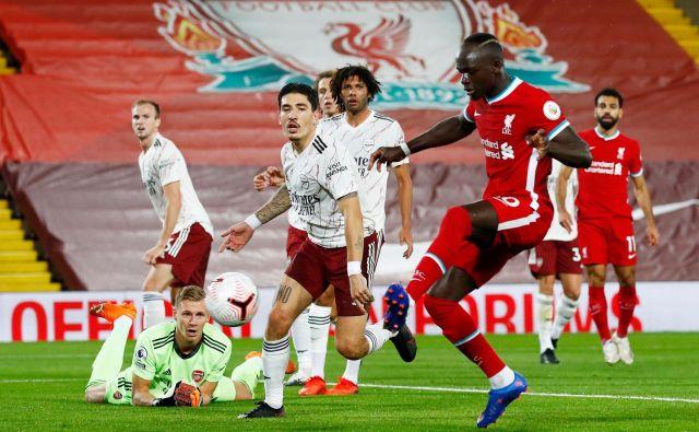 Sadio Mane je izenačil za Liverpool.FOTO: Jason Cairnduff/Reuters