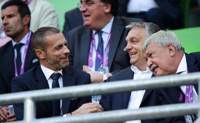 Predsednik UEFA Aleksander Čeferin ima v Viktorju Orbanu in Sandorju Csanyiju velika nogometna prijatelja in zaveznika. FOTO: Lisi Niesner/Reuters