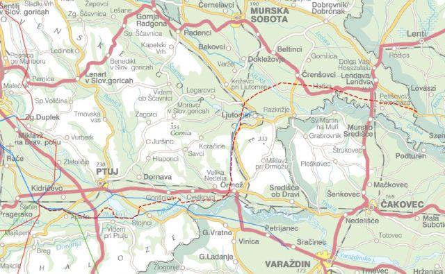 Ptuj - Trasa daljnovoda - nartovali so ga na zemljevidu brez vseh