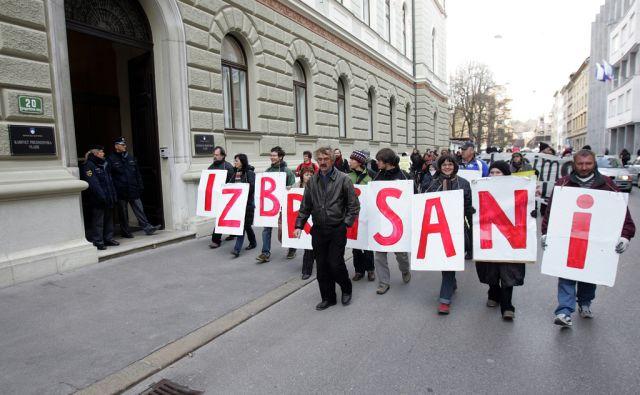 Ljubljana 06.03.2008 - Protest izbrisanih. foto: Blaž Samec/ DELO