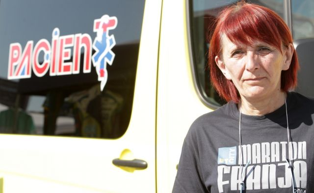 Maraton,Na sliki dr Milena Levstek, organizator zdravstvene službe na Franji. Ljubljana, 08.06.2014