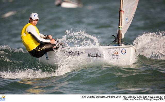 2014 ISAF Sailing World Cup Final, Abu Dhabi, United Arab Emirate. Date – 29th november, day 3 of racing. All ten Olympic sailing events are being contested in Abu Dhabi from with an open kiteboarding event joining the fray around Lulu Island off the