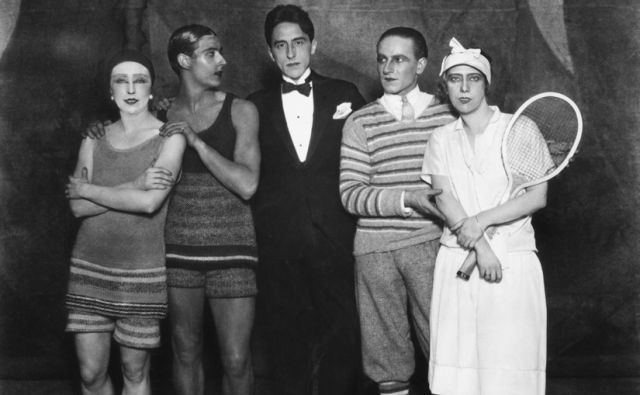 French poet, playwright and film director Jean Cocteau, (centre), with, (from left), Lydia Sokolova (born Hilda Munnings, 1896 - 1974), English dancer and choreographer Anton Dolin (1904 - 1983), Leon Woizikowsky and Bronislava Nijinska after the first
